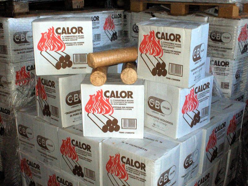 Tronchetti di puro legno ecologico pressato C&B Calor.
